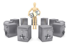 Wooden Dummy and bank safe Royalty Free Stock Photo