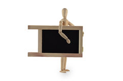 Wooden dummy with blackboard Stock Image