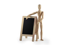 Wooden dummy with blackboard Royalty Free Stock Images