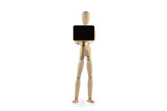 Wooden dummy with blackboard Stock Photo