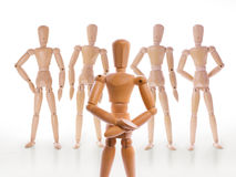 Wooden dummy characters. royalty free stock photography