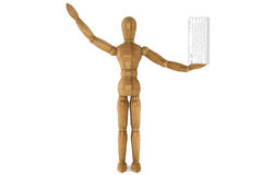 Wooden dummy with computer keyboard Stock Photography