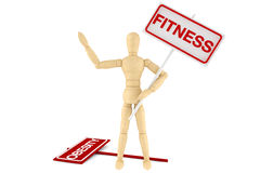 Wooden dummy with Fitness Banner Royalty Free Stock Photo