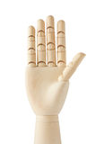 Wooden dummy hand with five fingers up Royalty Free Stock Images