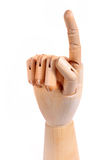 Wooden dummy hand point sign Royalty Free Stock Photo