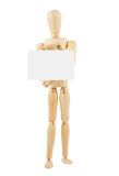 Wooden Dummy Holding Empty Card Royalty Free Stock Photography