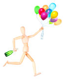 Wooden Dummy holding flying balloons and champagne Royalty Free Stock Images