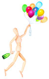 Wooden Dummy holding flying balloons and champagne Royalty Free Stock Photos