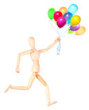 Wooden Dummy holding flying balloons isolated Stock Images