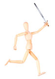 Wooden Dummy holding Medieval sword isolated Stock Photography