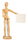 Wooden dummy holding paper Royalty Free Stock Photography