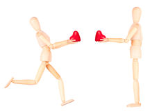 Wooden Dummy holding red heart Stock Photography