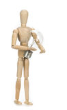 Wooden dummy and a light bulb Royalty Free Stock Images