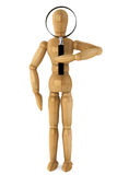 Wooden dummy with magnifying glass Stock Photography