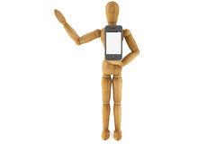 Wooden dummy with mobile smartphone Stock Image