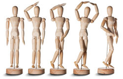 Wooden dummy. Models against a white background Royalty Free Stock Images