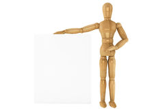 Wooden dummy with paper Stock Photo
