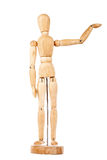 Wooden dummy with raised hand Royalty Free Stock Photography
