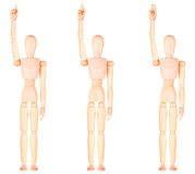 Wooden Dummy raising  with one fingers up Stock Photography