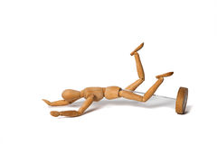 Wooden Dummy run and fall on ground Isolated Over White Backgrou Stock Image
