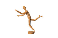 Wooden Dummy run about to fall Isolated Over White Background Stock Photography