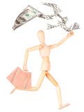 Wooden Dummy with shopping bags and money Stock Images