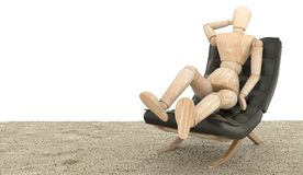 Wooden dummy siting on the couch. 3D rendering. Toy Wooden dummy siting on the couch. 3D rendering royalty free stock photography