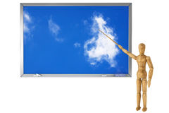 Wooden Dummy with sky school blackboard Stock Photography