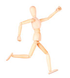 Wooden Dummy sprinter running isolated. Over White Background Royalty Free Stock Images