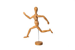 Wooden Dummy sprinter running Isolated Over White Background Stock Photography