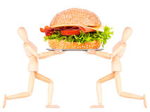 Wooden Dummy with tasty sandwich Stock Images