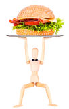 Wooden Dummy with tasty sandwich Stock Photos