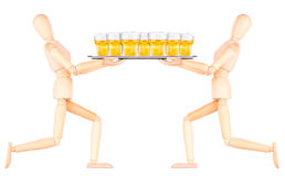 Wooden Dummy waiter with beer on tray Stock Image