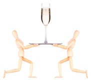 Wooden Dummy waiter with champagne on tray Stock Images