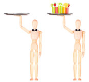 Wooden Dummy waiter with cocktail on tray Royalty Free Stock Photo