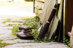Wooden dutch shoes, traditional clogs footwear Stock Photography