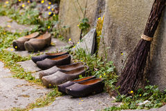 Wooden dutch shoes, traditional clogs footwear Stock Photos