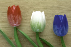 Wooden dutch tulips. Dutch tulips on a wooden background, an example of fine home decoration Royalty Free Stock Images