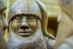 Wooden Dwarf. Close up of a wooden statue of a dwarf Stock Images
