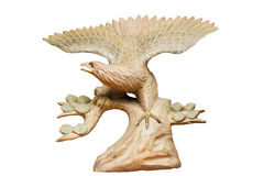 Wooden eagle isolated on white Royalty Free Stock Photos
