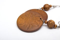 Wooden earings Stock Image
