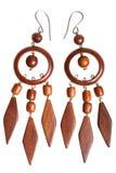 Wooden earrings Stock Image