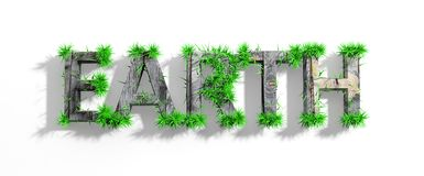 Wooden Earth word with green grass Stock Images