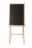 Wooden easel with a black board on white Stock Photo