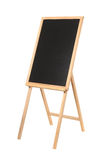 Wooden easel with a black board on white Royalty Free Stock Image