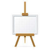 Wooden easel with blank canvas stock illustration