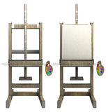 Wooden easel with blank canvas. On white 3d render Royalty Free Stock Photo