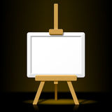 Wooden easel with blank canvas on a dark back. The illustration of a wooden easel with blank canvas on a dark  background. Detailed portrayal Royalty Free Stock Image