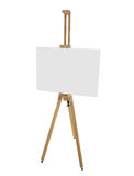 Wooden easel with blank picture canvas isolated on white Stock Image