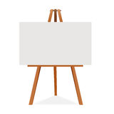 Wooden easel with canvas. Blank space ready for your advertising and presentation. Vector mock up illustration. Royalty Free Stock Image